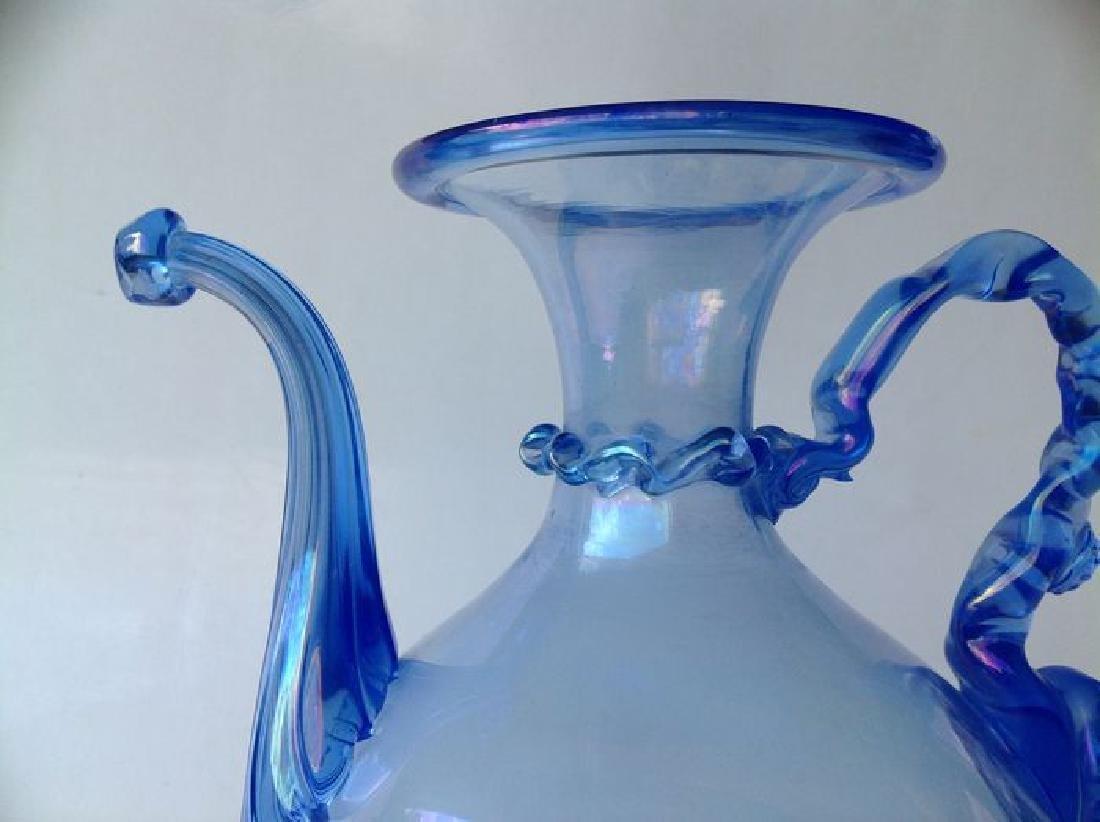 Venetian iridescent blue glass wine jug on foot, - 8