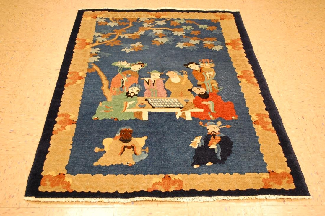 Antique Art Deco Chinese Rug of Eight Immortals 4x5.10