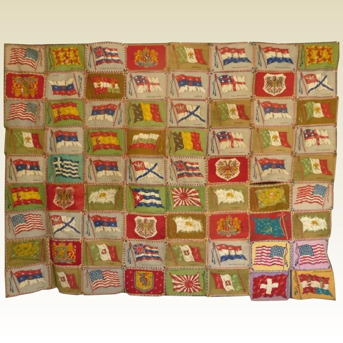 Cigar Flag Quilt Top 1915..nice collection of 72 flags