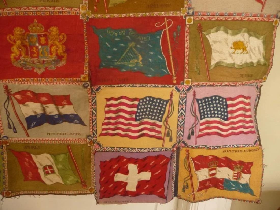 Cigar Flag Quilt Top 1915..nice collection of 72 flags - 2