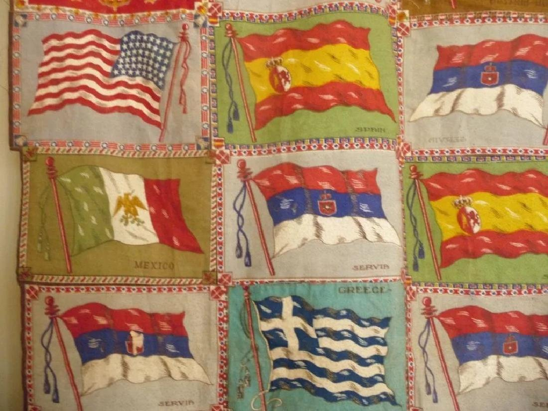 Cigar Flag Quilt Top 1915..nice collection of 72 flags - 3