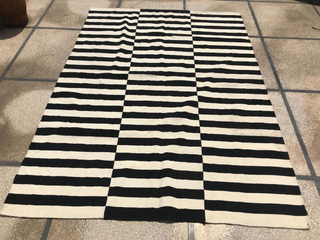 Black & White/Off White Stripped Kilim Rug Rug 7.7x5.5