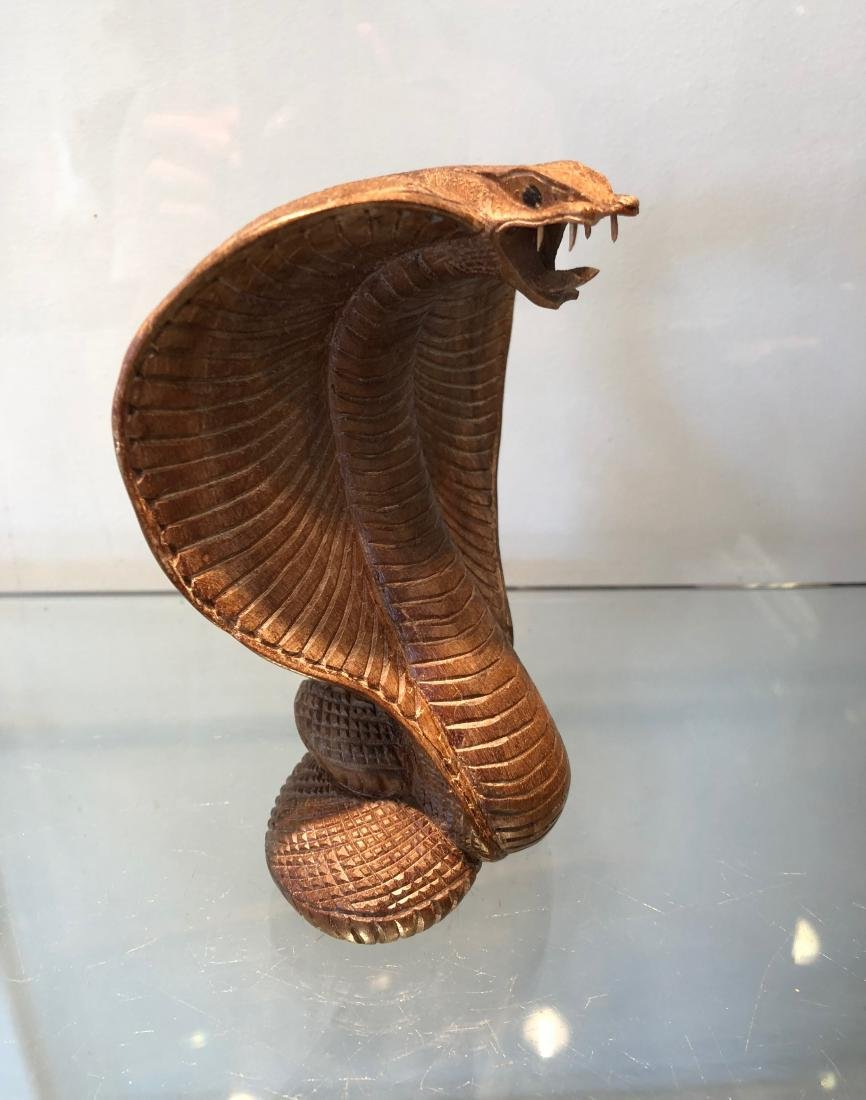 Indian Traditionnal Snake Carved in Wood - 2