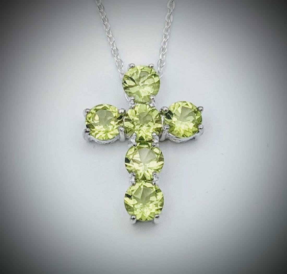 Sterling Silver Peridot Cross Necklace, 3ct