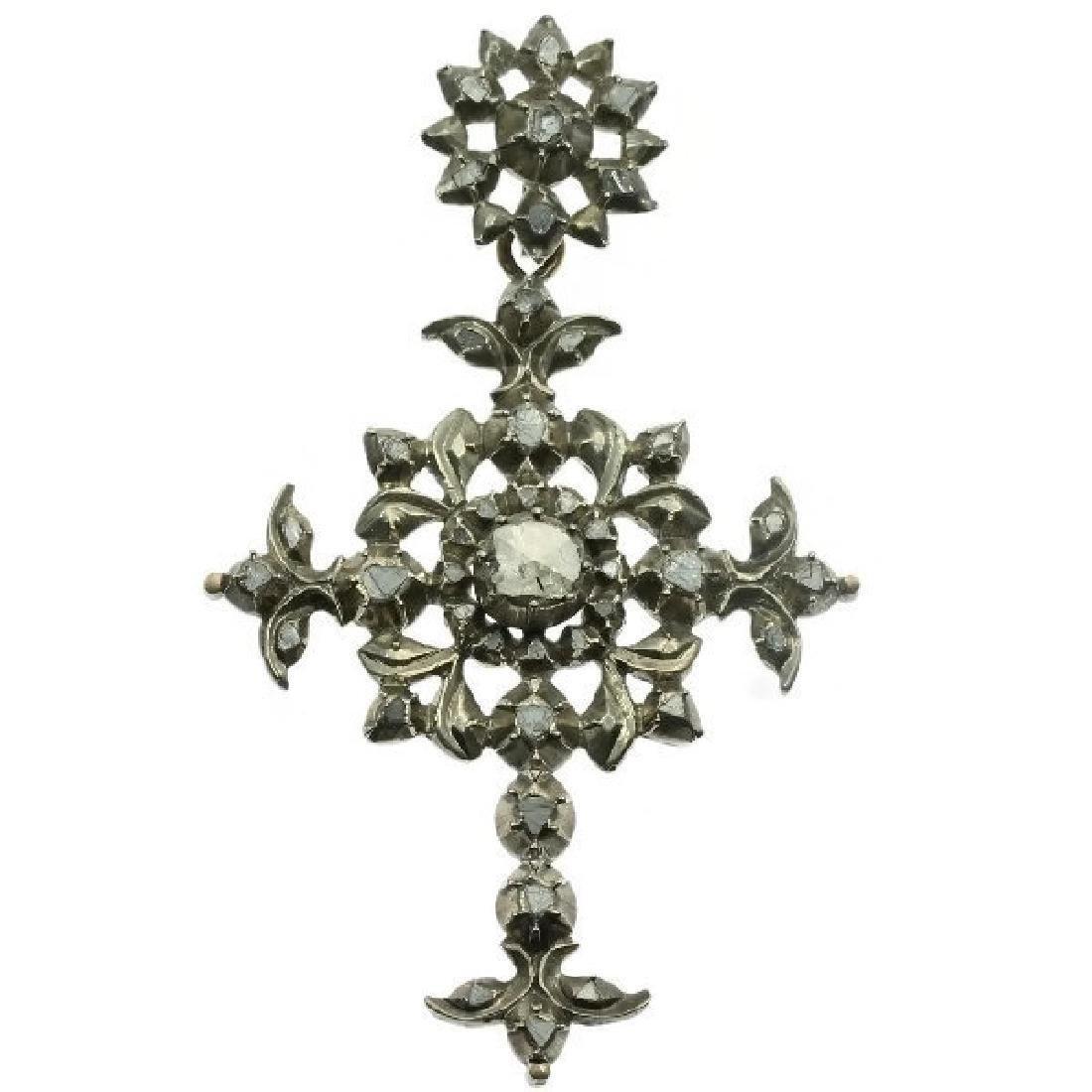 Heavy antique diamond cross silver, Victorian era