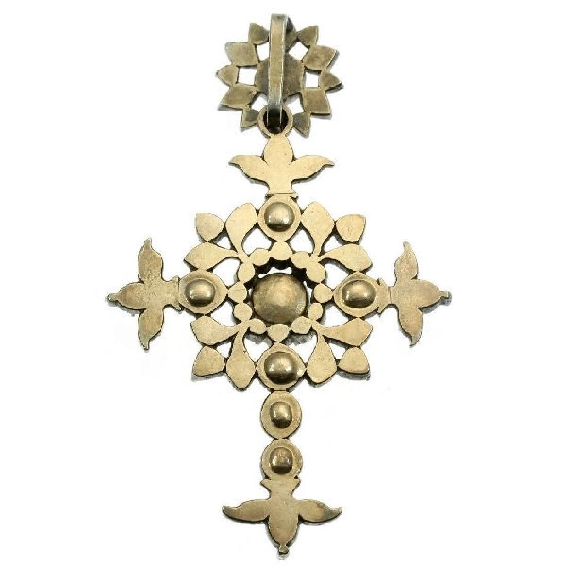 Heavy antique diamond cross silver, Victorian era - 2