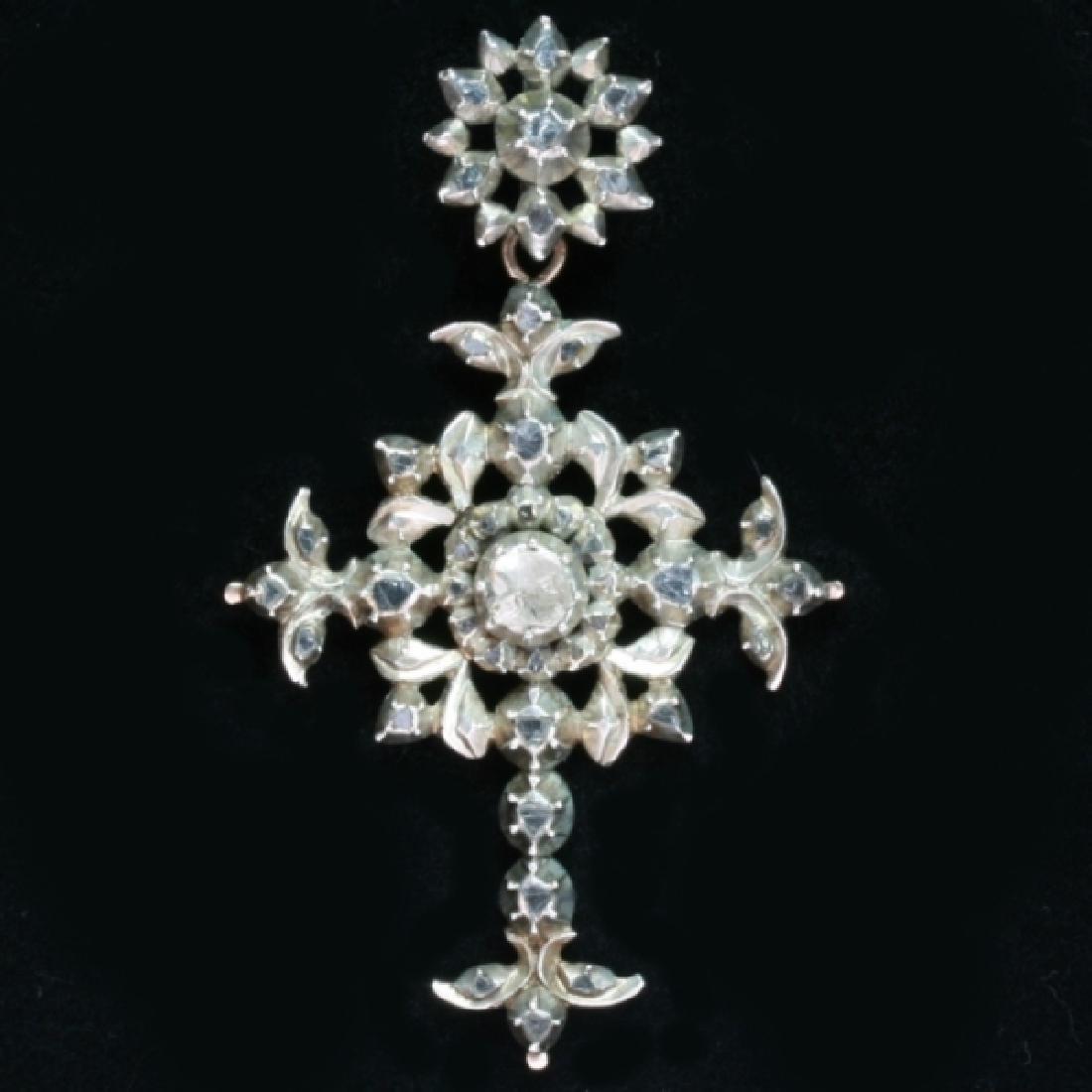 Heavy antique diamond cross silver, Victorian era - 5