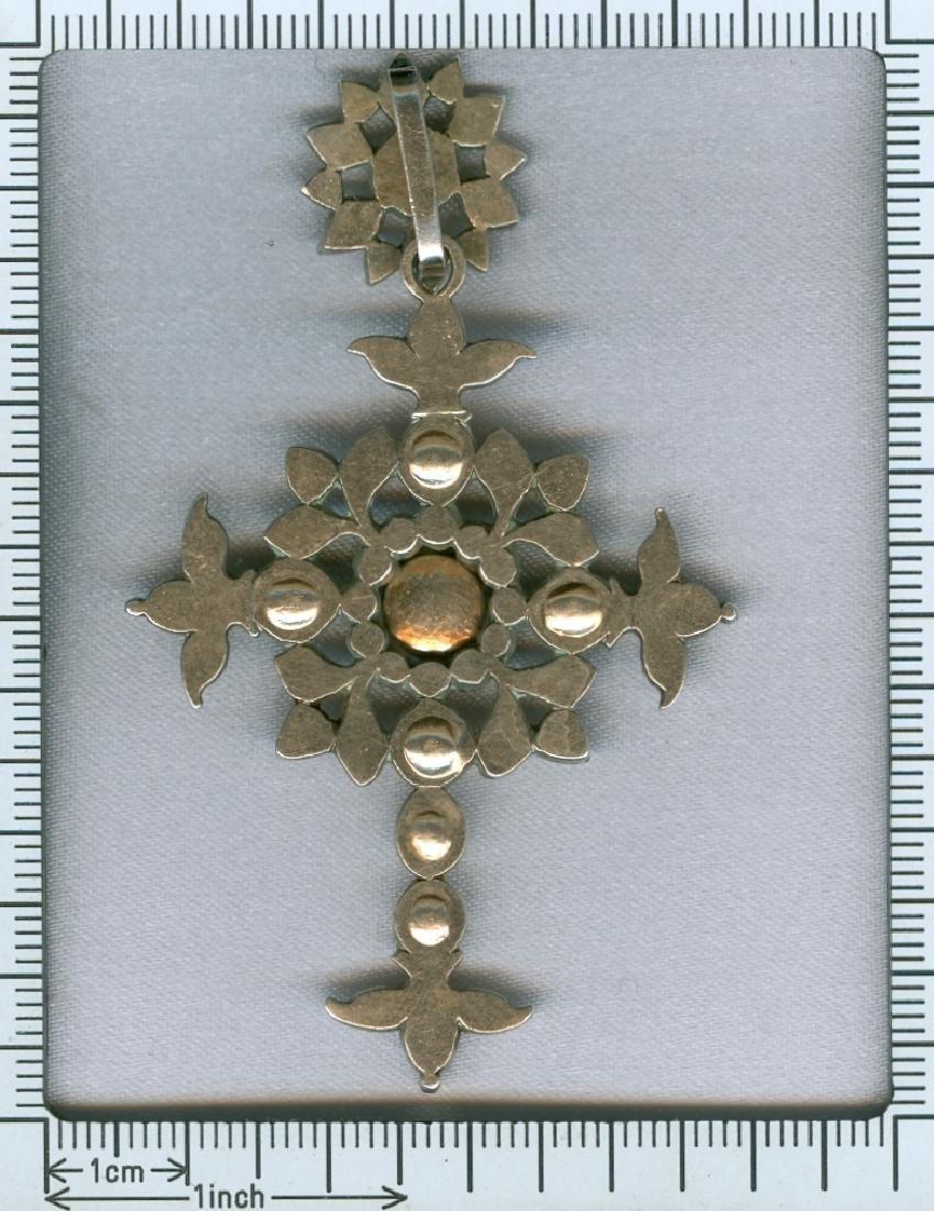 Heavy antique diamond cross silver, Victorian era - 6