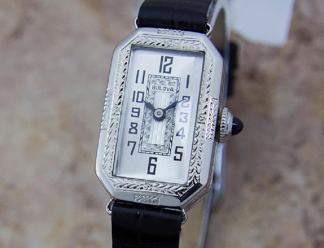 Bulova Rare 1920s Ladies White Gold Plated Luxury