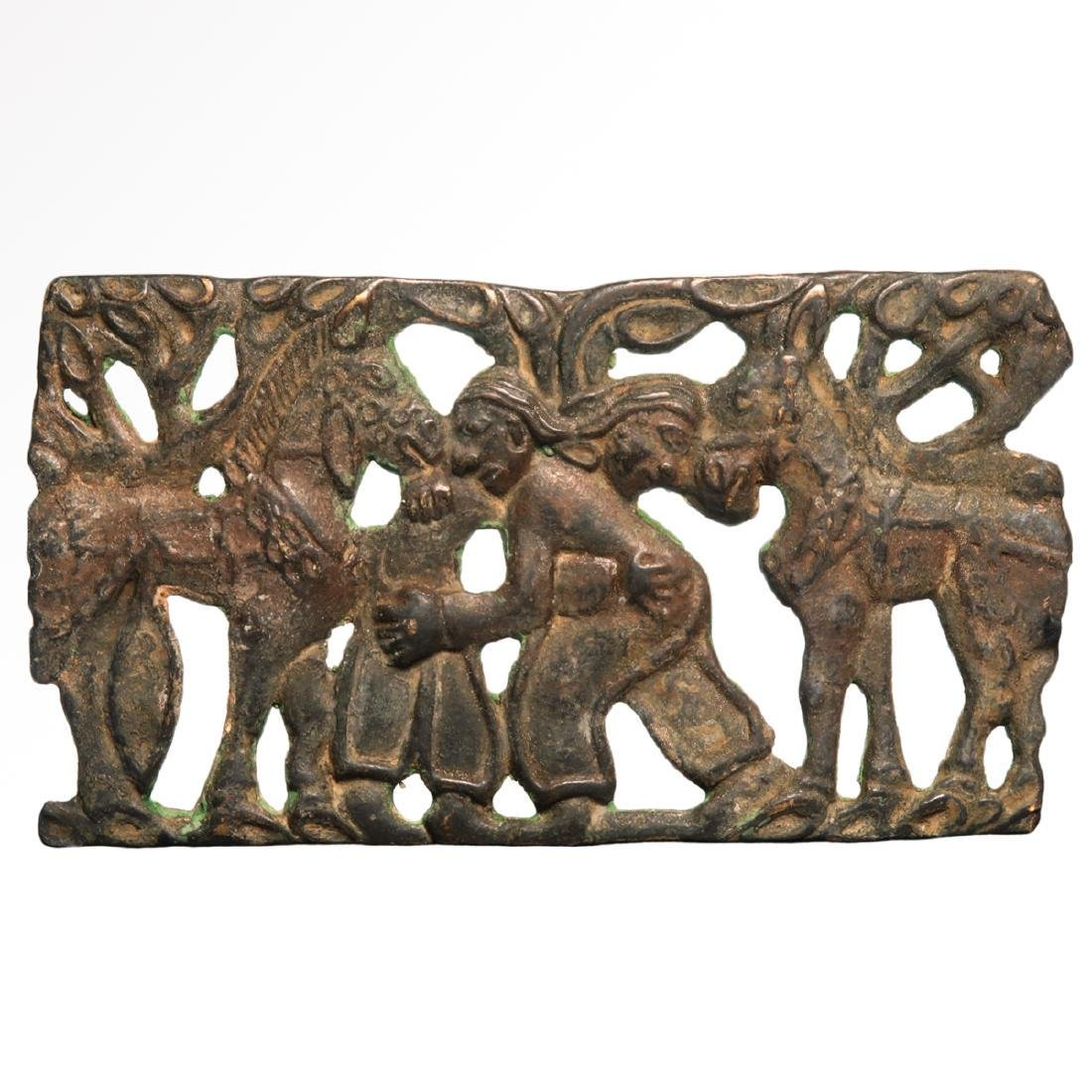 Scythian Bronze Plaque of Two Wrestling Figures and