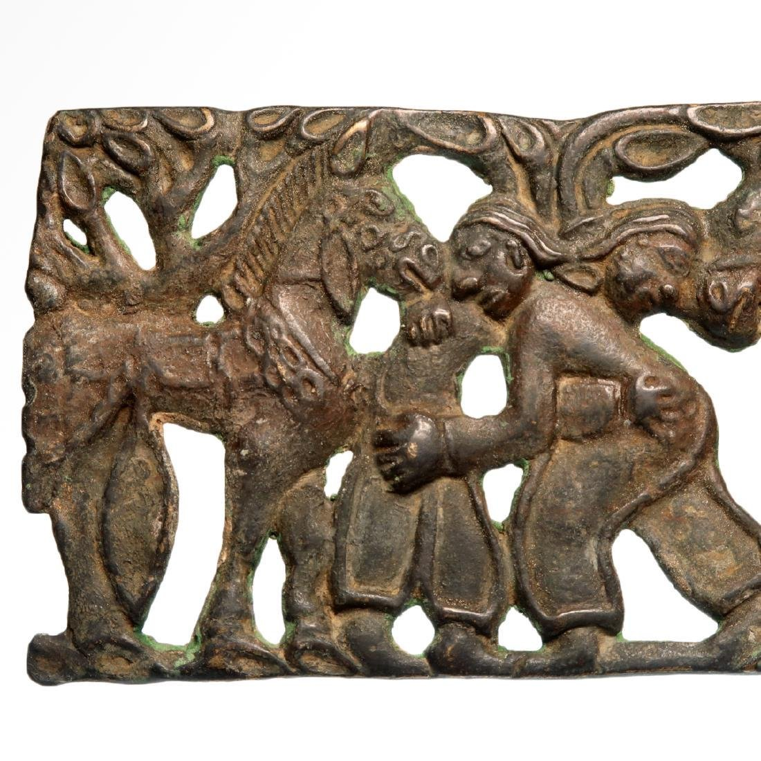 Scythian Bronze Plaque of Two Wrestling Figures and - 2