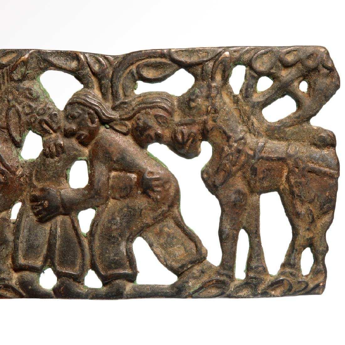 Scythian Bronze Plaque of Two Wrestling Figures and - 3