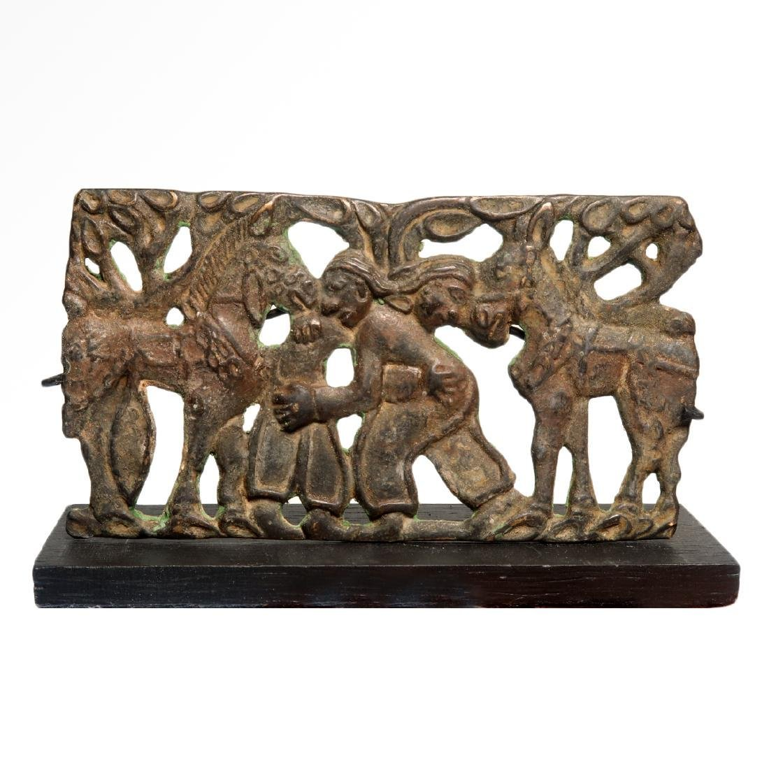 Scythian Bronze Plaque of Two Wrestling Figures and - 6