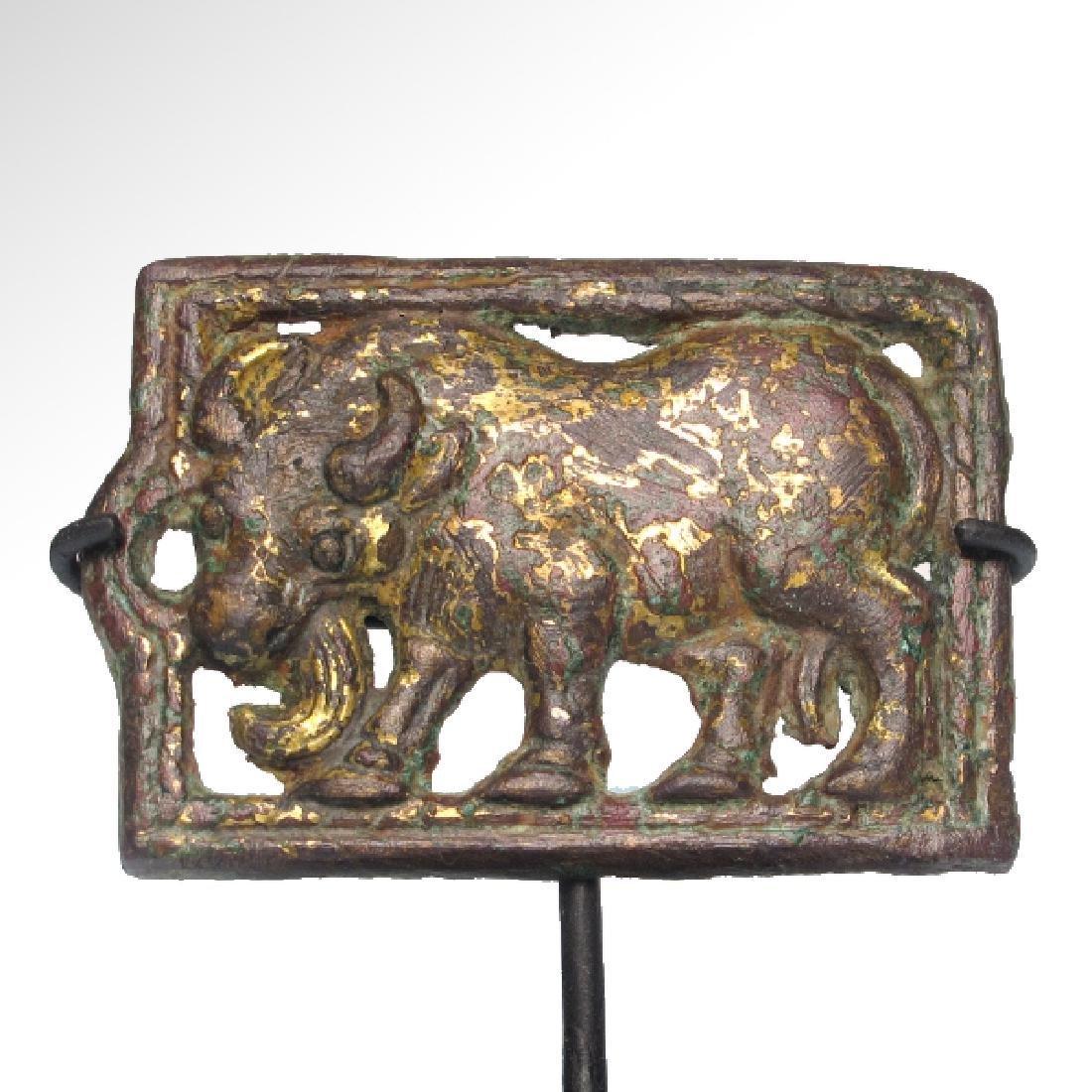 Ordos Gilt Bronze Open-Work Plaque with Bull, c. 500