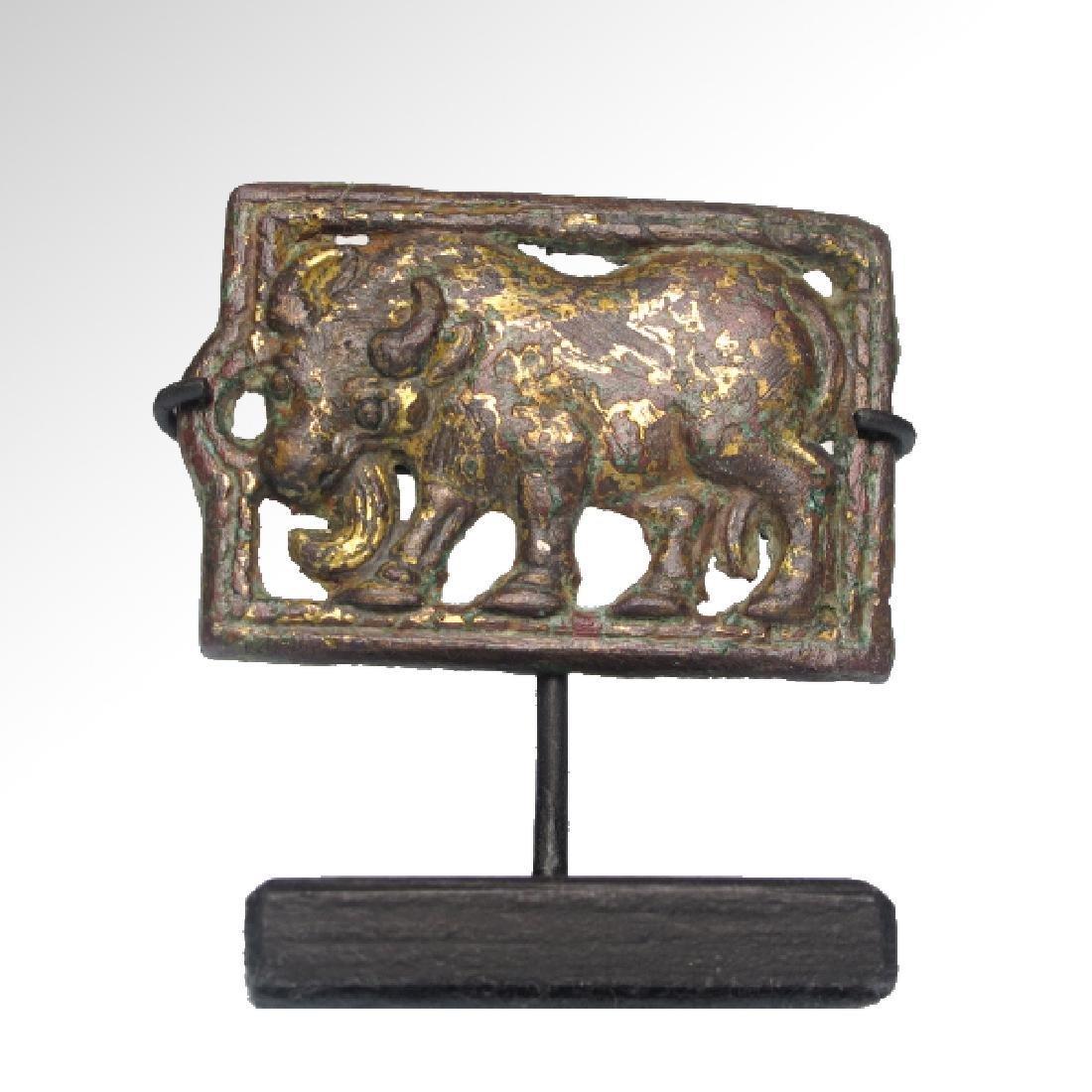 Ordos Gilt Bronze Open-Work Plaque with Bull, c. 500 - 2