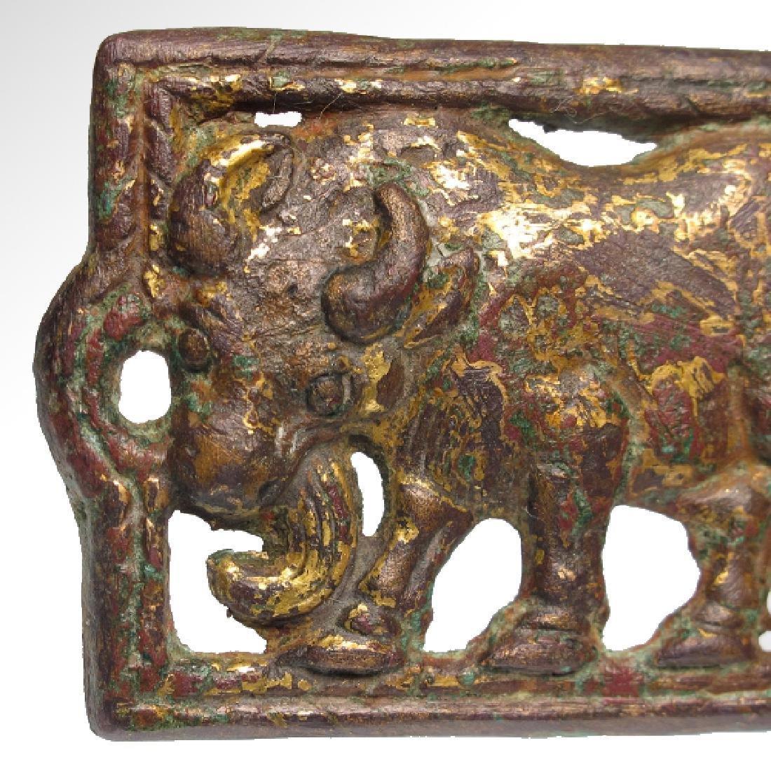 Ordos Gilt Bronze Open-Work Plaque with Bull, c. 500 - 3