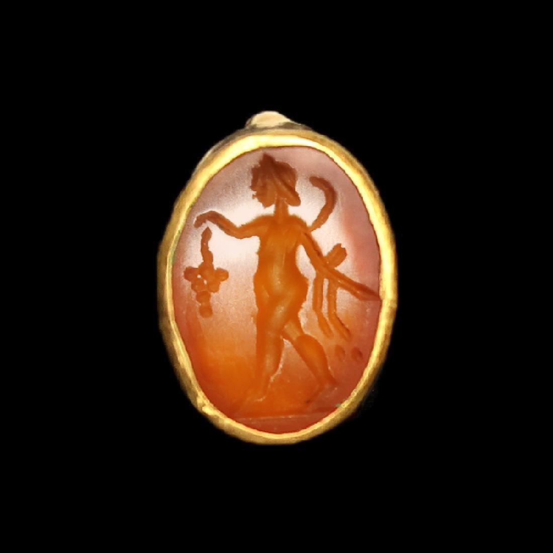 Roman Gold Ring with Dionysus Cornelian Intaglio, c.