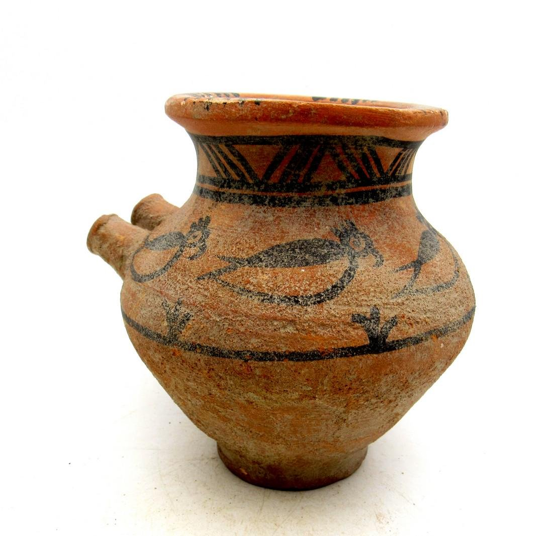 Ancient Indus Valley Terracotta Jar with Bird & Spouts - 2