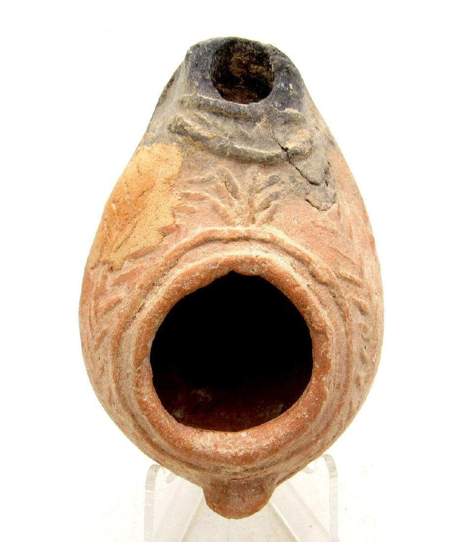 Ancient Byzantine Terracotta Oil Lamp with Laurel