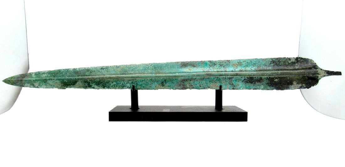 Ancient Greek Bronze Sword with Blood Grooves and Stand
