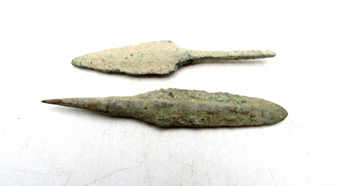 Pair of Ancient Greek Bronze Arrowheads
