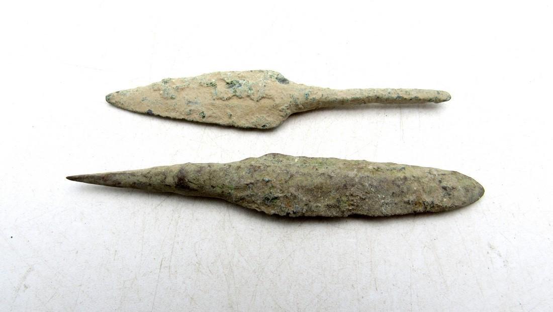 Pair of Ancient Greek Bronze Arrowheads - 2
