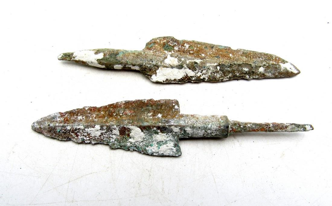 Pair of Ancient Greek Bronze Arrowheads - 2