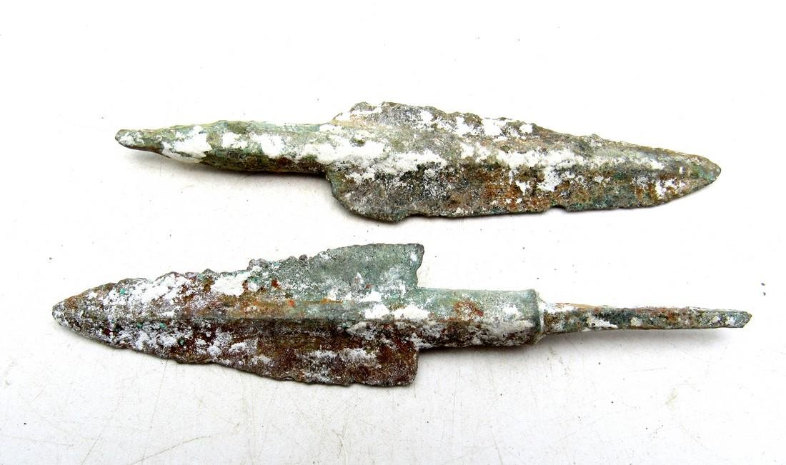 Pair of Ancient Greek Bronze Arrowheads - 3