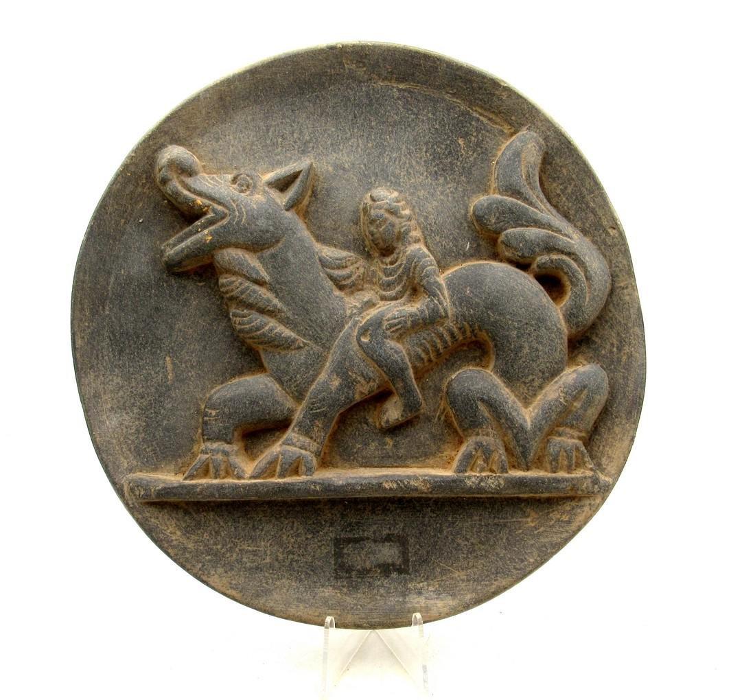 Ancient Gandhara Schist Plate with Warrior on Dragon