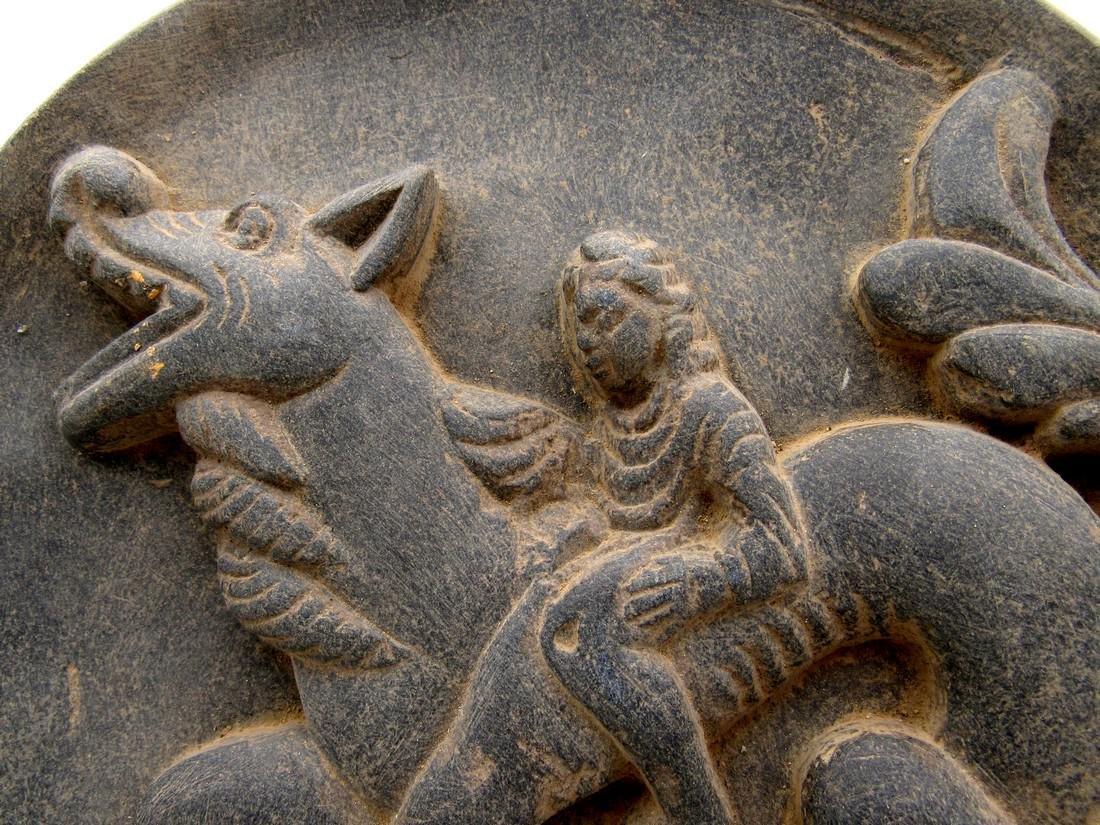 Ancient Gandhara Schist Plate with Warrior on Dragon - 2
