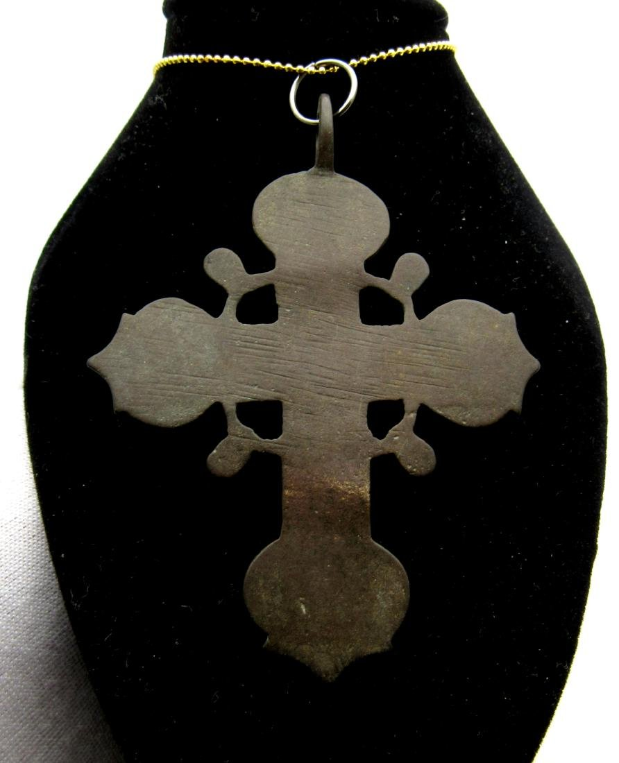 Late Medieval Bronze Radiate Cross Pendant - 2