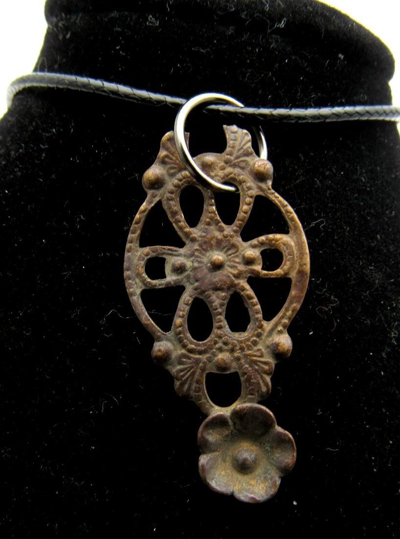 Late Medieval Tudor Bronze Floral Ladies Pendant