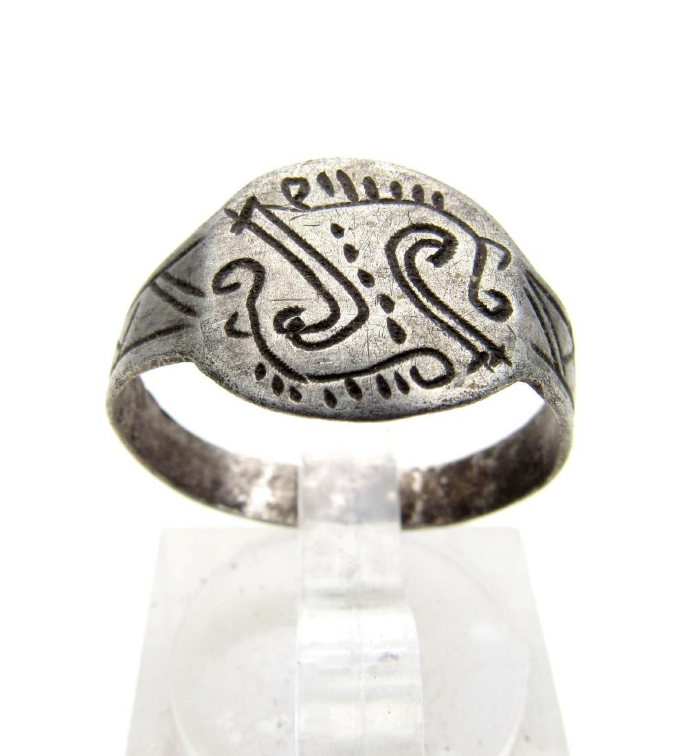 Medieval Viking Era Silver Ring with Runic Symbols