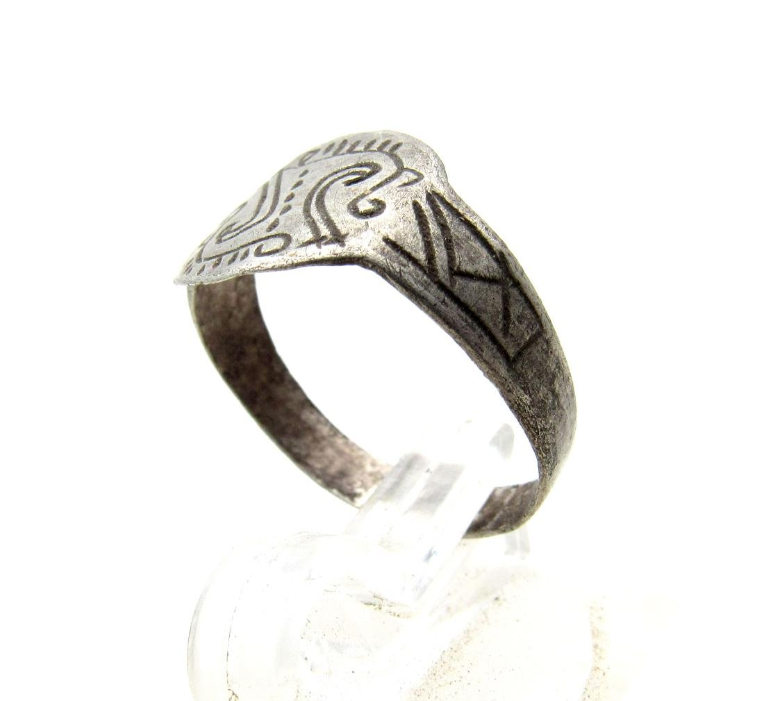 Medieval Viking Era Silver Ring with Runic Symbols - 2