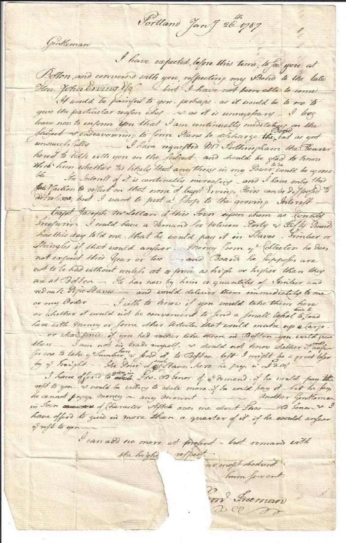 1787 Portland Boston Business Letter Samuel Freeman