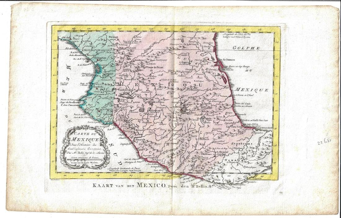 1773 Hand Colored Bellin Map of Mexico