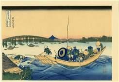 Hokusai Katsushika Woodblock Evening View of Ryogoku
