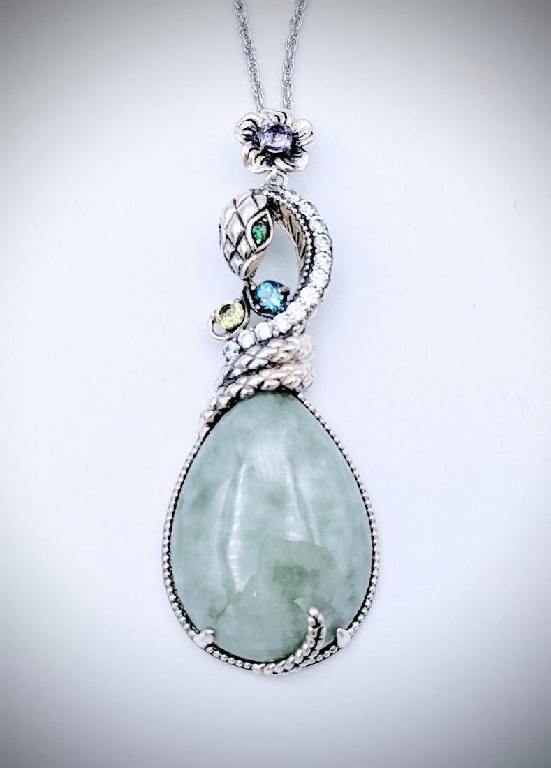 Sterling Silver Jade Blue Topaz Peridot Snake Necklace