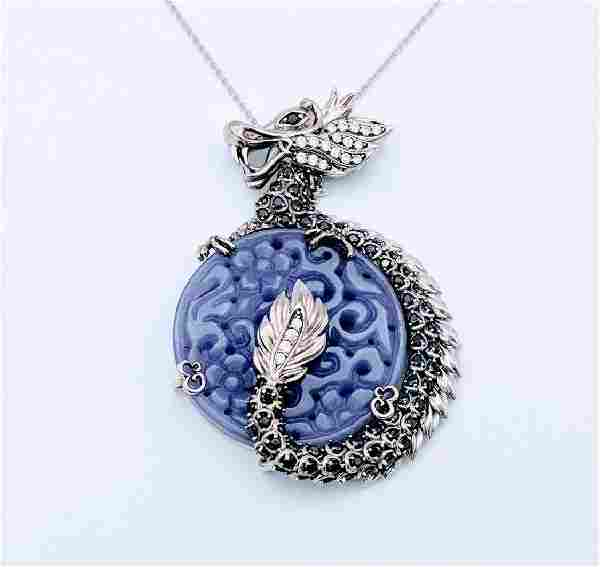 Sterling Silver Violet Jade Garnet Dragon Necklace