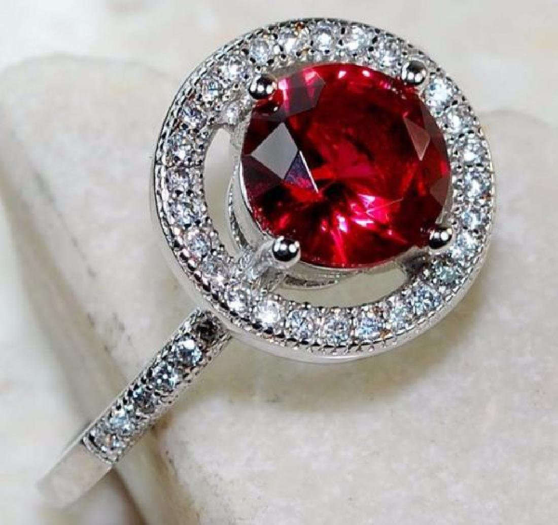 2 CT Ruby & White Topaz 925 Solid Sterling Silver Ring