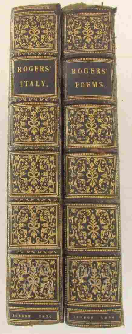 1830 34 2 BOOKS LOT POEMS by SAMUEL ROGERS decorative