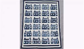 Blue and White House Quilt