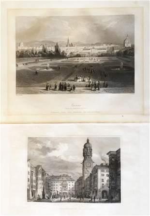 Two mid1800s Austrian City Views Vienna Innsbruck