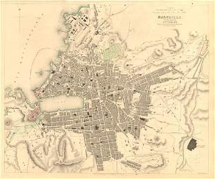 MARSEILLE Antique town city map Ancient Massilia