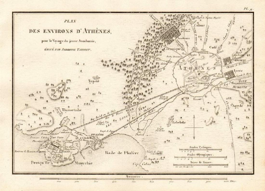 ATHENS Plan des Environs d'Athènes. Ancient Greece.