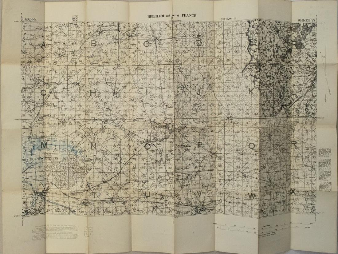 1917 British Military Map of Northern France and
