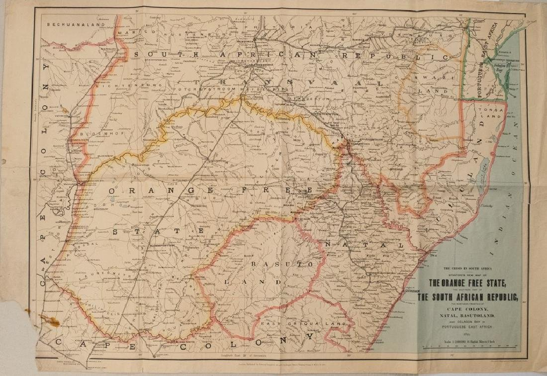 1899 Stanford Map of South Africa During the Boer War