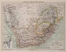1882 Brockhaus Map of South Africa -- Karte der