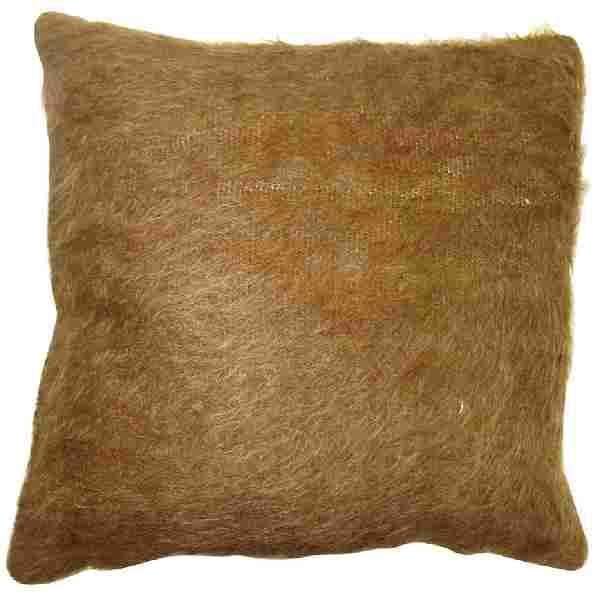 Brown Turkish Mohair Rug Pillow 1.3x1.4