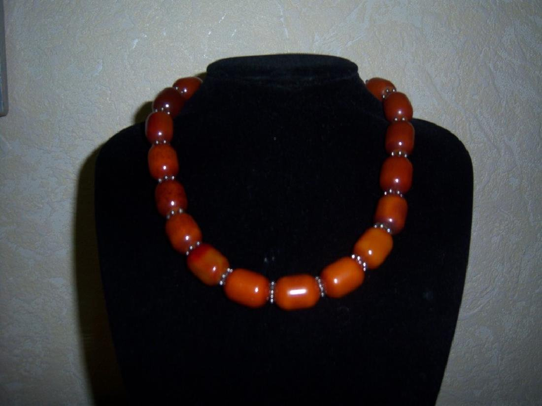 Vintage Cherry Amber Bakelite Necklace and Silver 83 gr